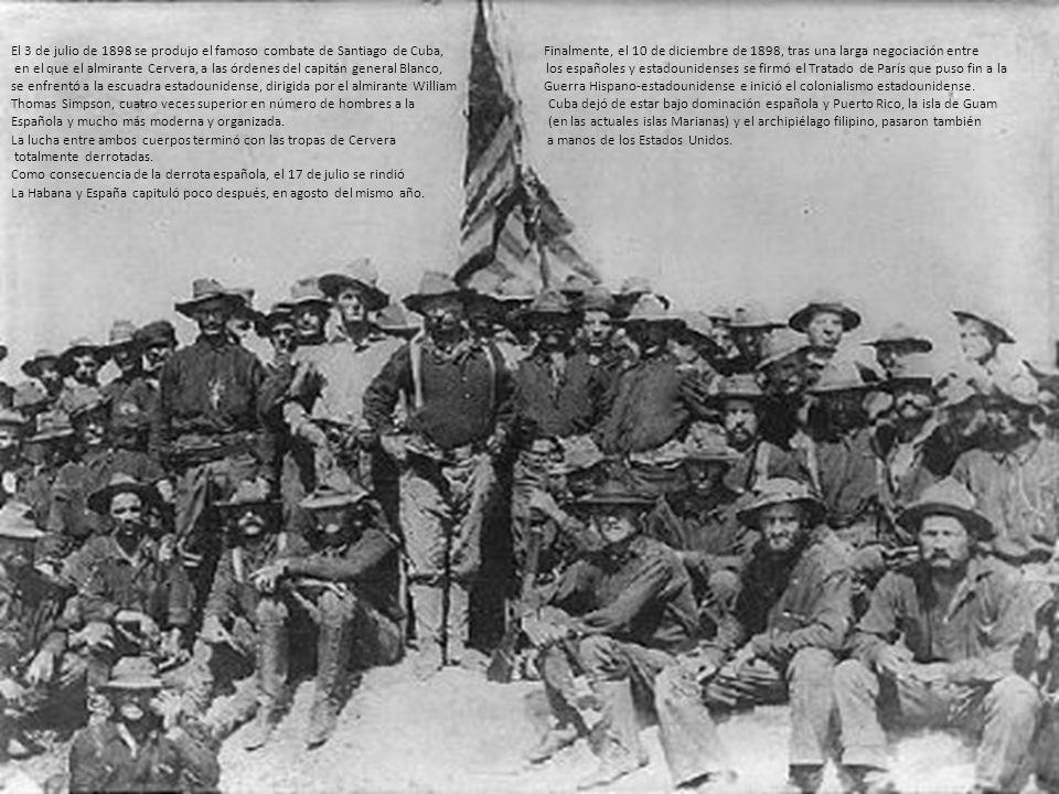 El 3 de julio de 1898 se produjo el famoso combate de Santiago de Cuba, Finalmente, el 10 de diciembre de 1898, tras una larga negociación entre