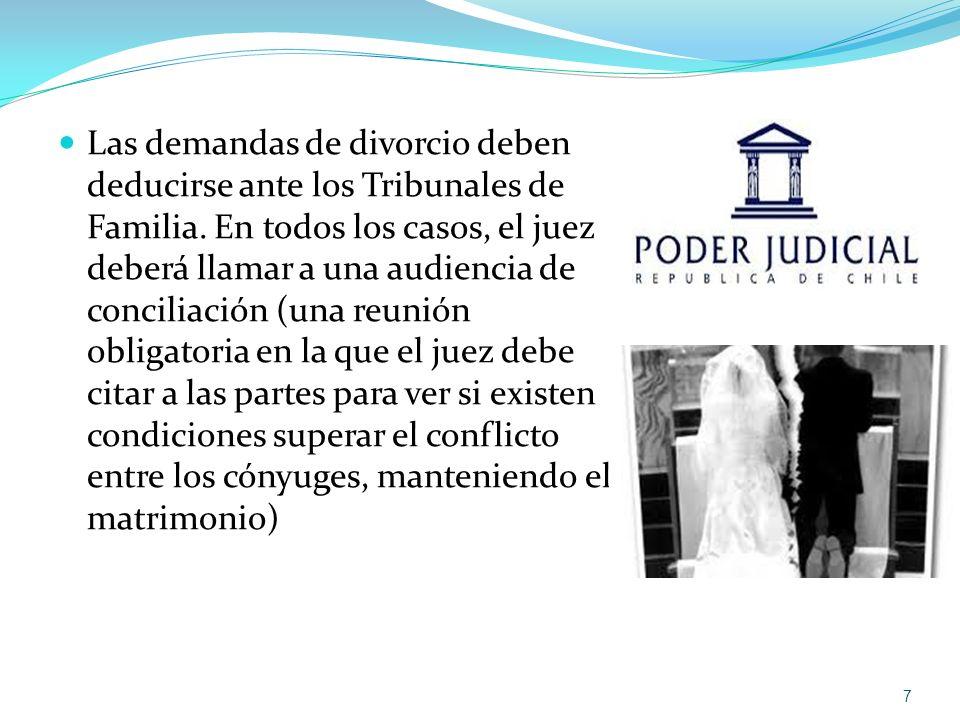 Las demandas de divorcio deben deducirse ante los Tribunales de Familia.