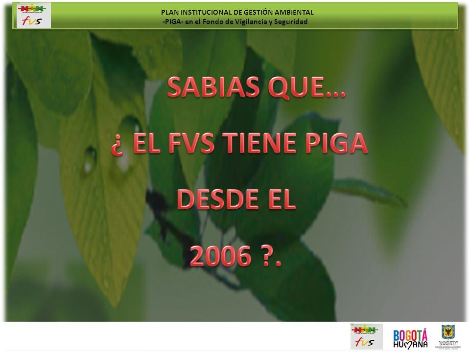SABIAS QUE… ¿ EL FVS TIENE PIGA DESDE EL 2006 .