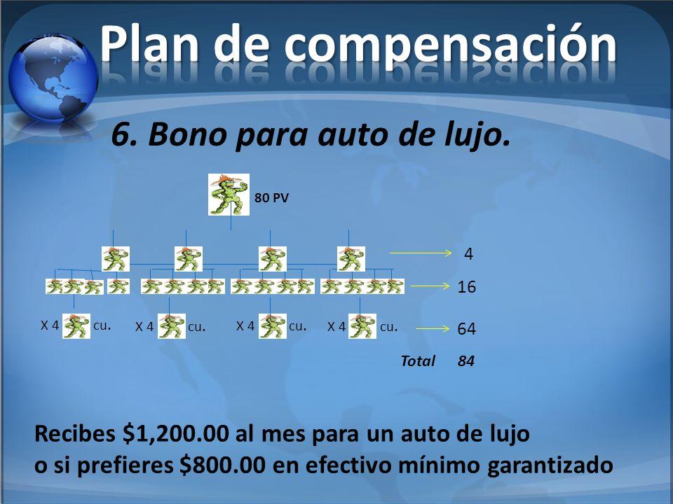 Plan de compensación 6. Bono para auto de lujo.
