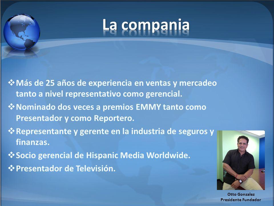 La compania Más de 25 años de experiencia en ventas y mercadeo tanto a nivel representativo como gerencial.