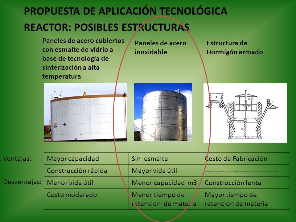 PROPUESTA DE APLICACIÓN TECNOLÓGICA REACTOR: POSIBLES ESTRUCTURAS