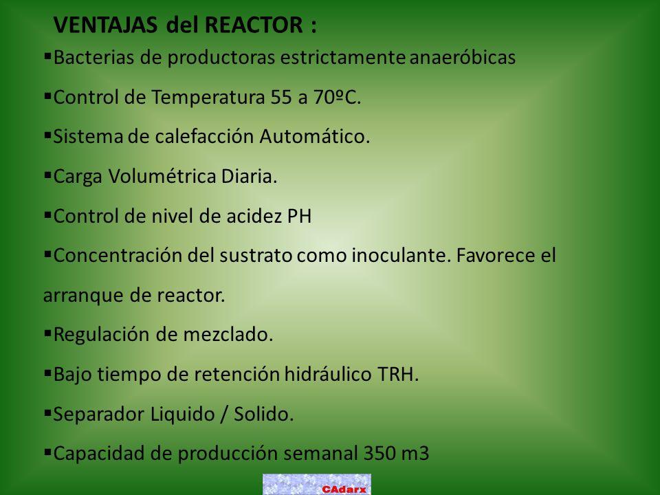 VENTAJAS del REACTOR : Bacterias de productoras estrictamente anaeróbicas. Control de Temperatura 55 a 70ºC.