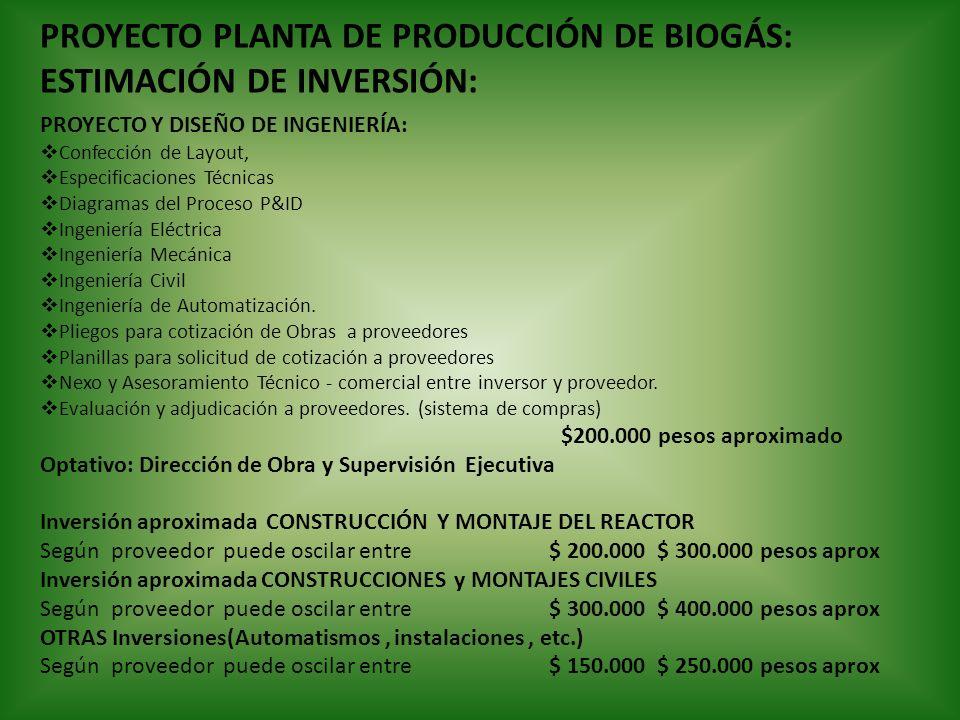 PROYECTO PLANTA DE PRODUCCIÓN DE BIOGÁS: ESTIMACIÓN DE INVERSIÓN: