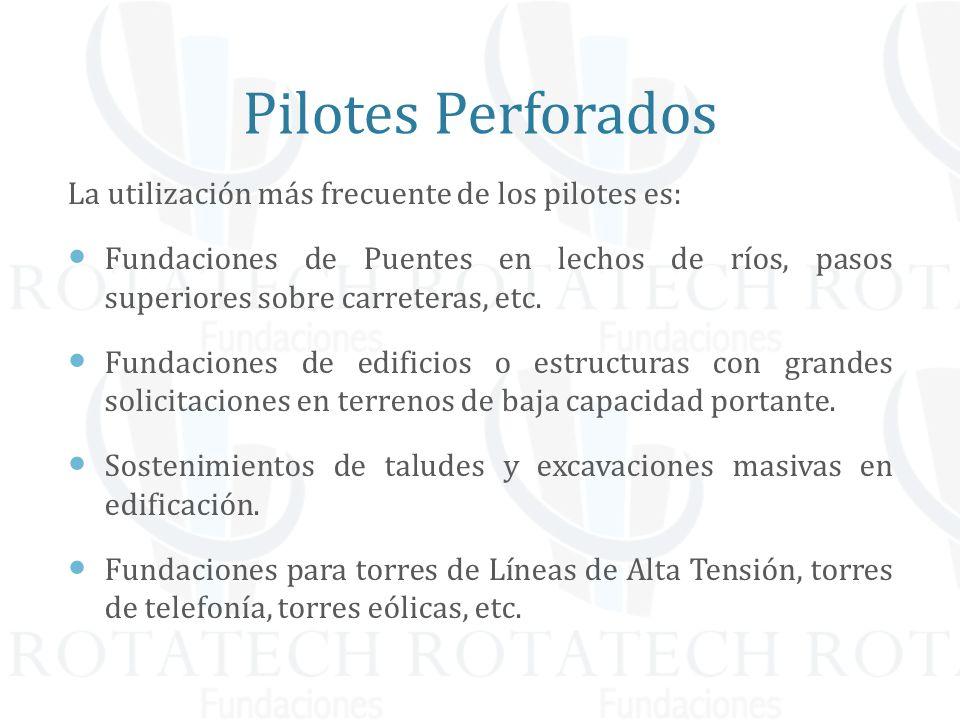 Pilotes Perforados La utilización más frecuente de los pilotes es: