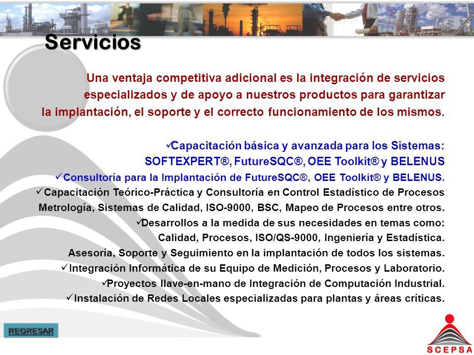 Servicios Una ventaja competitiva adicional es la integración de servicios. especializados y de apoyo a nuestros productos para garantizar.