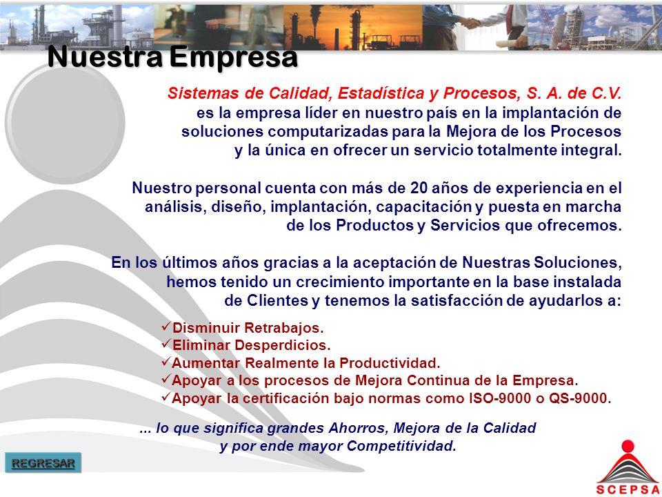 Nuestra Empresa Sistemas de Calidad, Estadística y Procesos, S. A. de C.V. es la empresa líder en nuestro país en la implantación de.