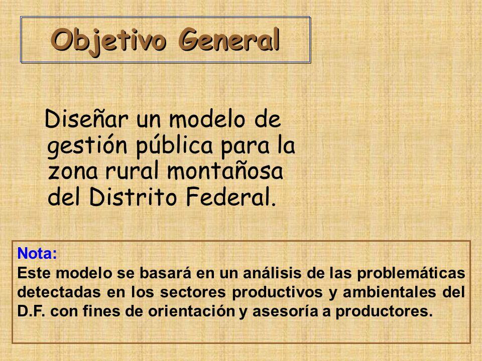 Objetivo General Diseñar un modelo de gestión pública para la zona rural montañosa del Distrito Federal.
