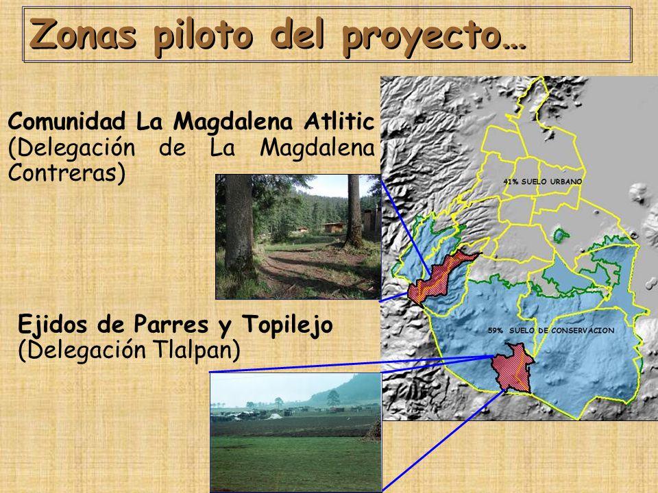 Zonas piloto del proyecto…