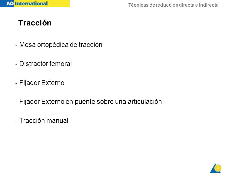 Tracción - Mesa ortopédica de tracción - Distractor femoral