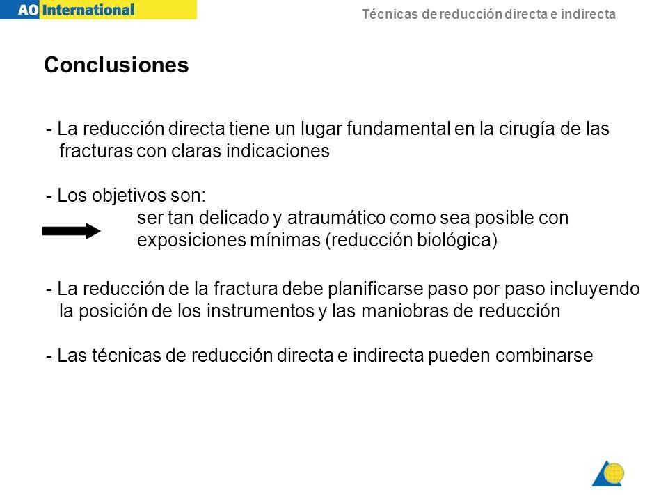 Conclusiones - La reducción directa tiene un lugar fundamental en la cirugía de las fracturas con claras indicaciones.