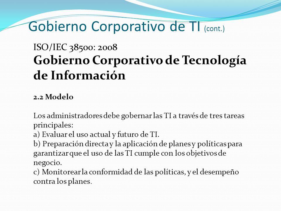 Gobierno Corporativo de TI (cont.)