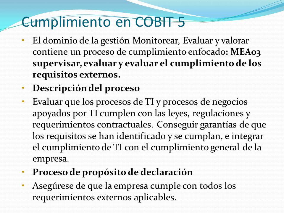 Cumplimiento en COBIT 5