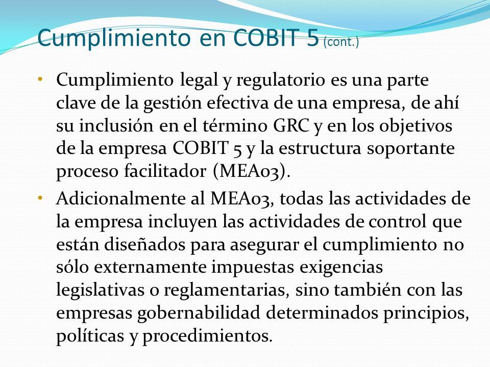 Cumplimiento en COBIT 5 (cont.)