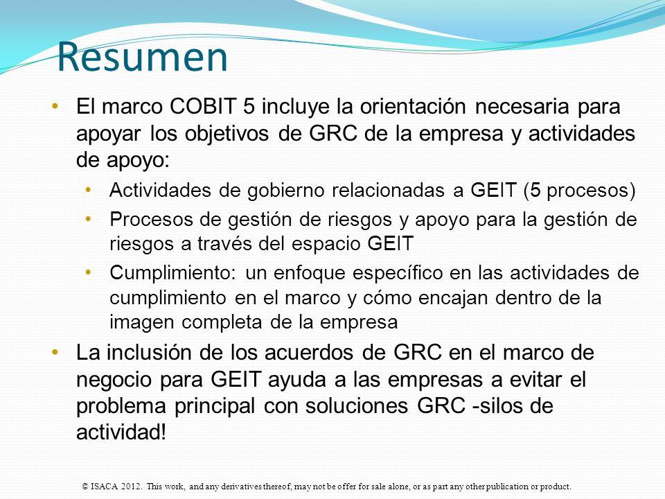 Resumen El marco COBIT 5 incluye la orientación necesaria para apoyar los objetivos de GRC de la empresa y actividades de apoyo: