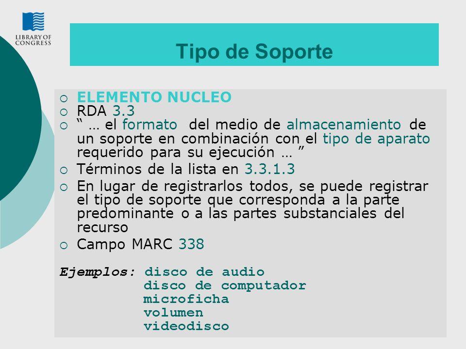 Tipo de Soporte ELEMENTO NUCLEO RDA 3.3