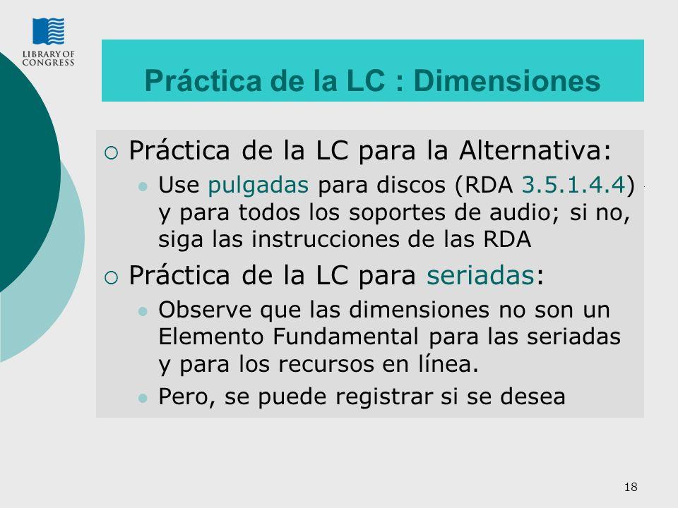 Práctica de la LC : Dimensiones
