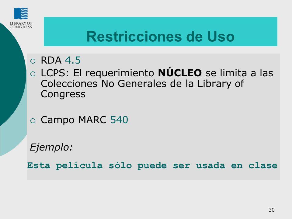 Restricciones de Uso RDA 4.5