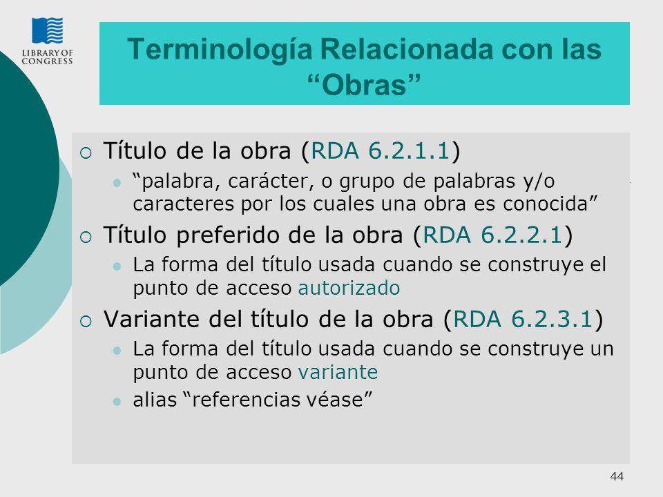 Terminología Relacionada con las Obras