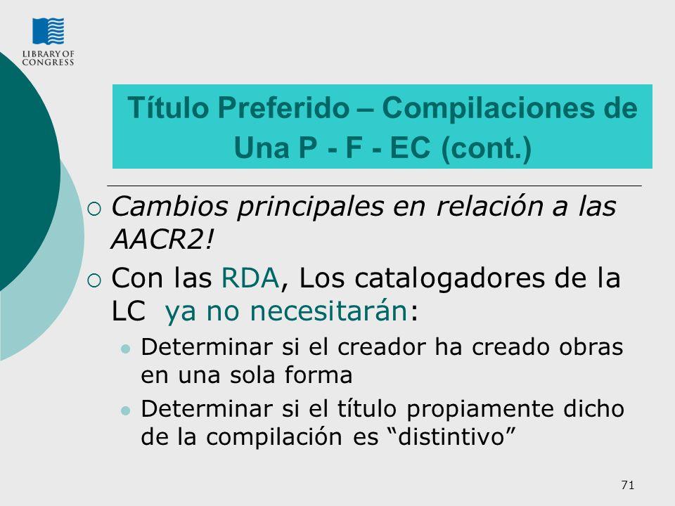 Título Preferido – Compilaciones de Una P - F - EC (cont.)