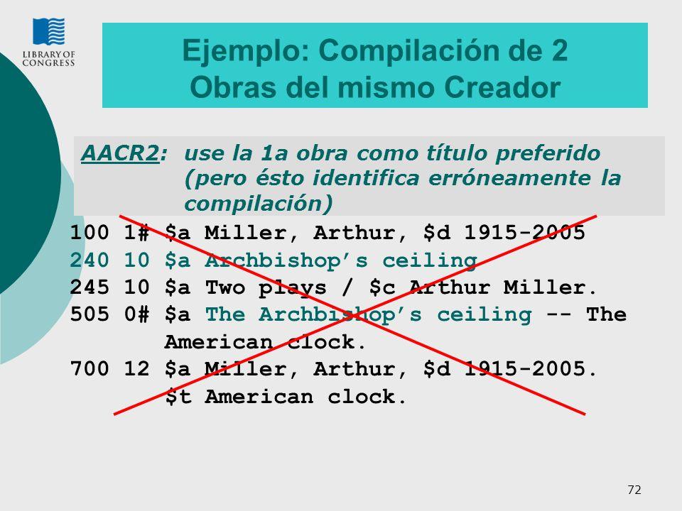 Ejemplo: Compilación de 2 Obras del mismo Creador