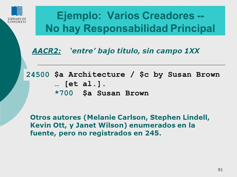 Ejemplo: Varios Creadores -- No hay Responsabilidad Principal
