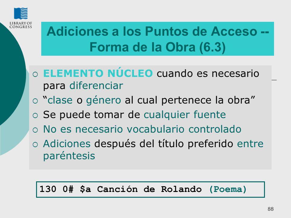 Adiciones a los Puntos de Acceso -- Forma de la Obra (6.3)