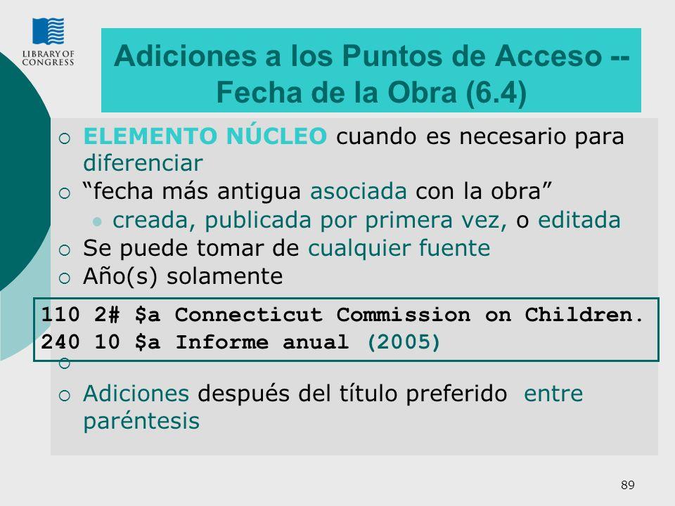 Adiciones a los Puntos de Acceso -- Fecha de la Obra (6.4)