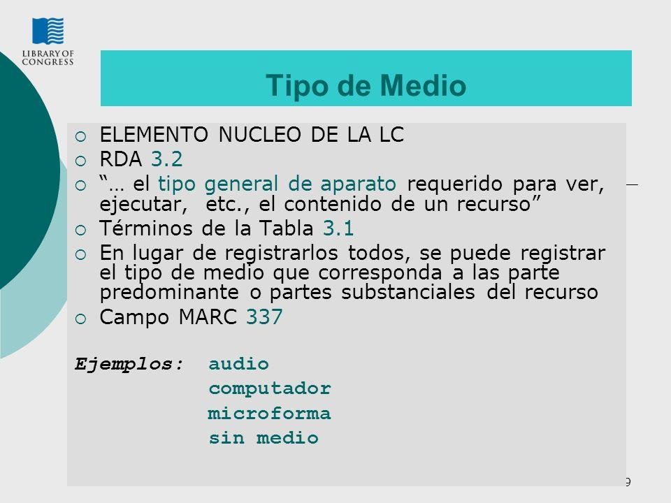 Tipo de Medio ELEMENTO NUCLEO DE LA LC RDA 3.2