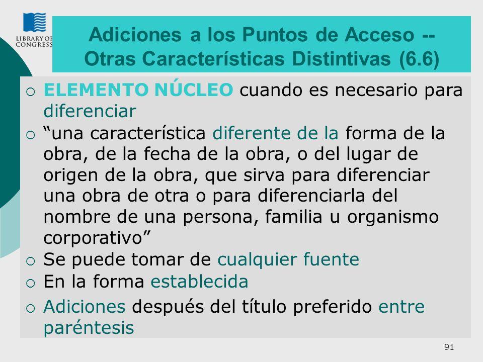 Adiciones a los Puntos de Acceso -- Otras Características Distintivas (6.6)
