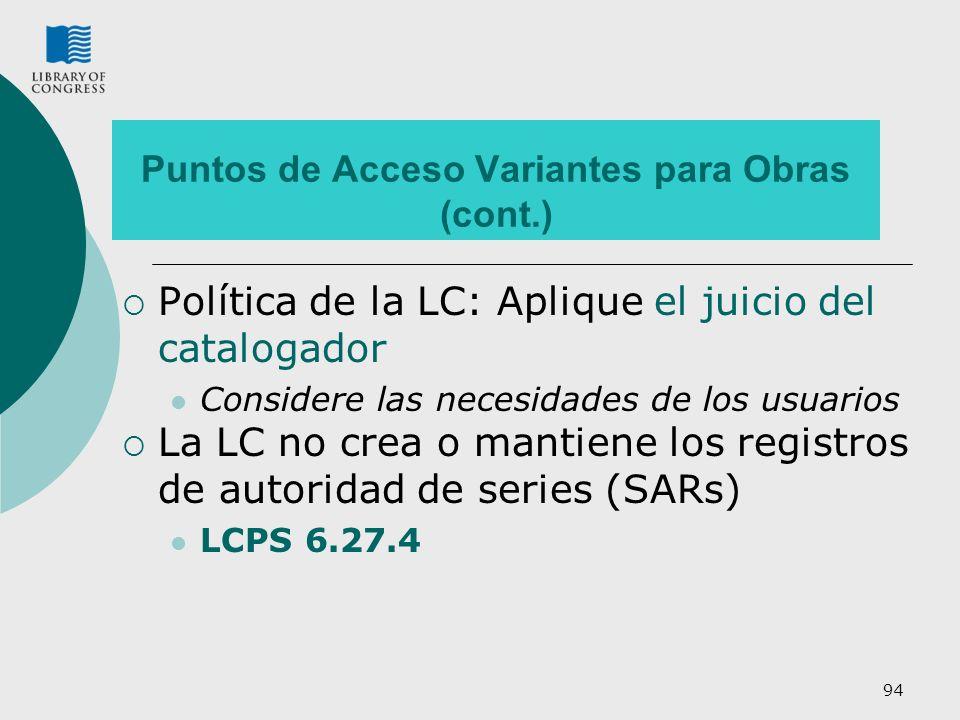 Puntos de Acceso Variantes para Obras (cont.)