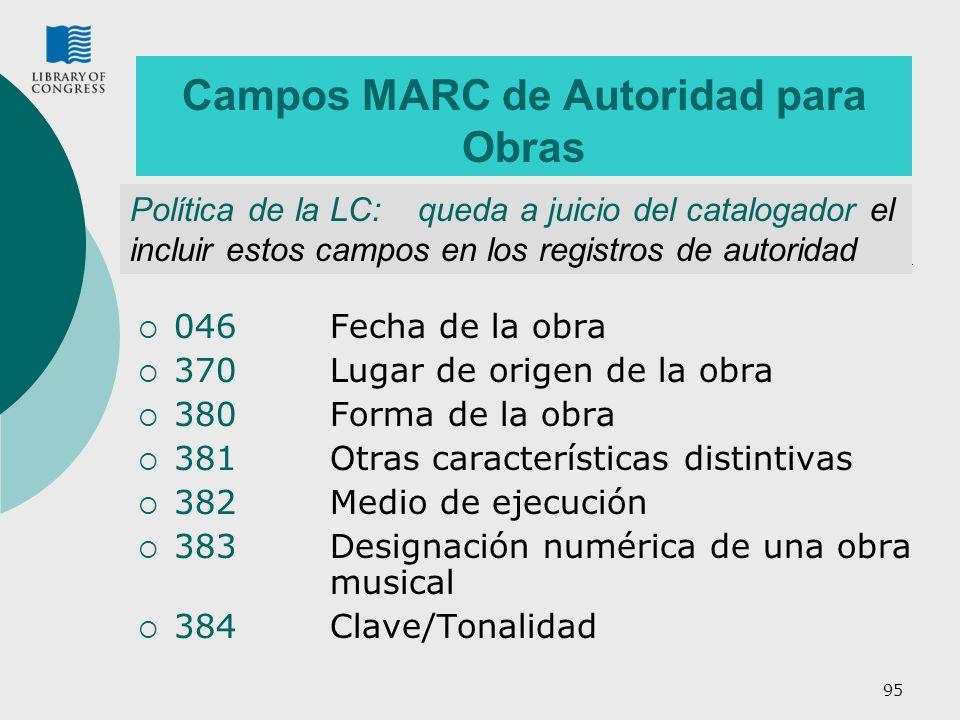 Campos MARC de Autoridad para Obras