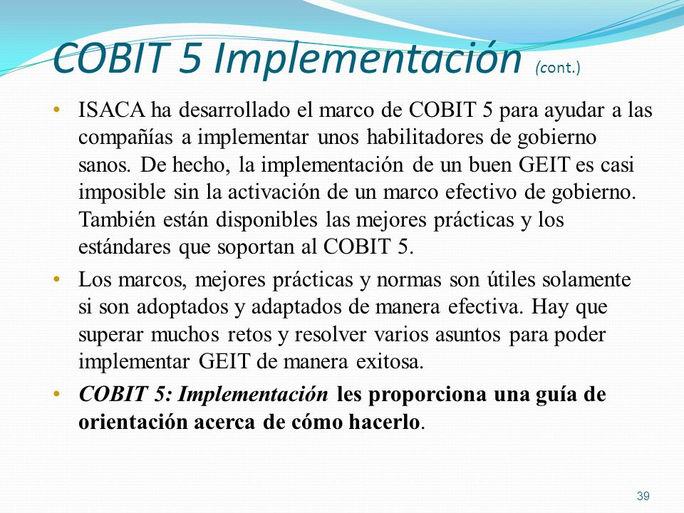 COBIT 5 Implementación (cont.)