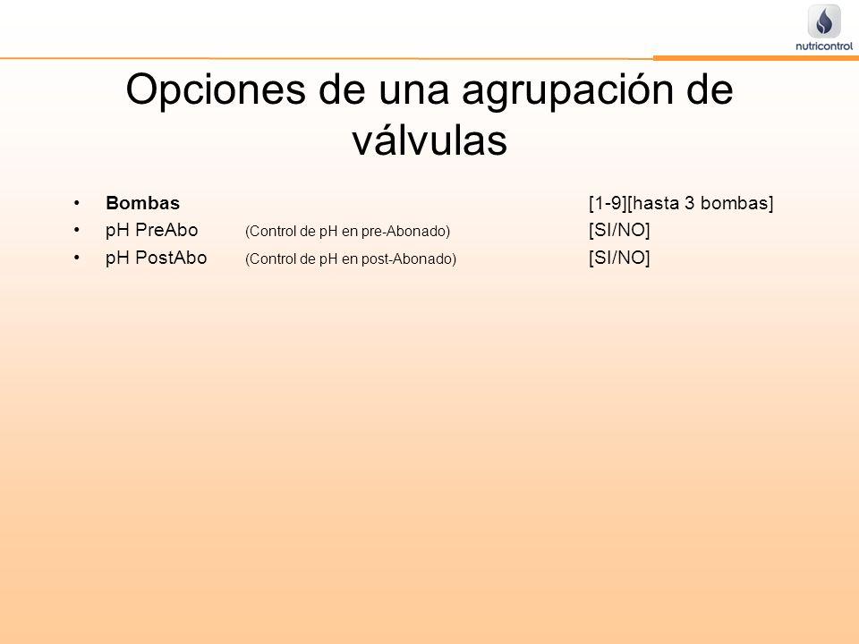 Opciones de una agrupación de válvulas