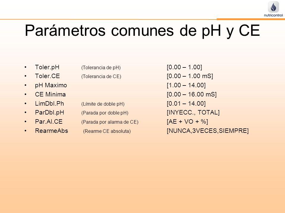 Parámetros comunes de pH y CE