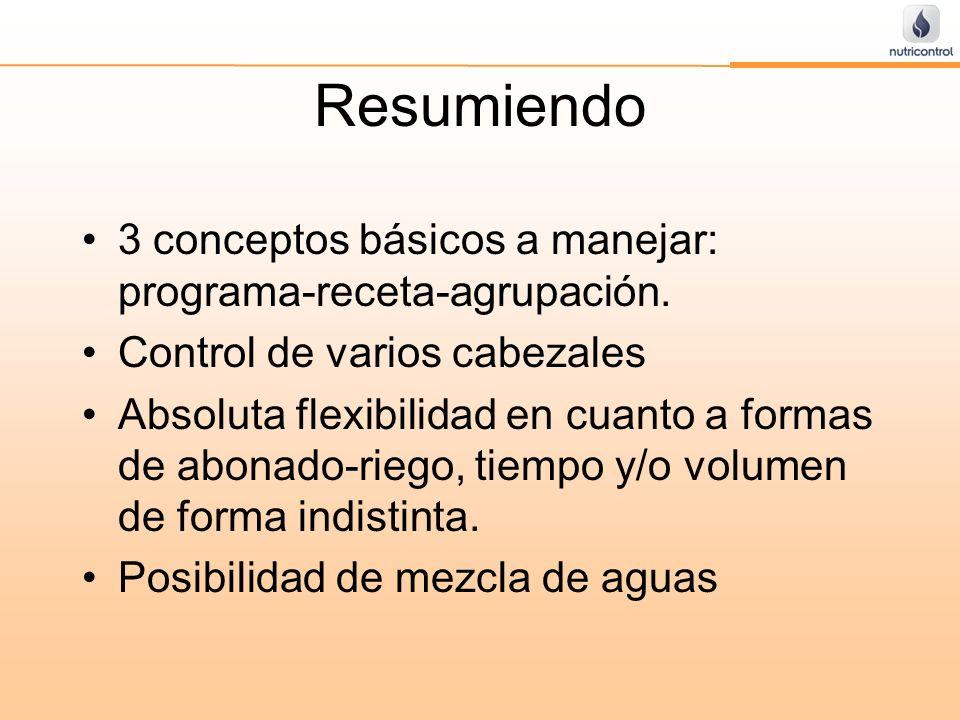 Resumiendo 3 conceptos básicos a manejar: programa-receta-agrupación.