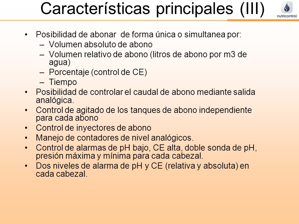 Características principales (III)