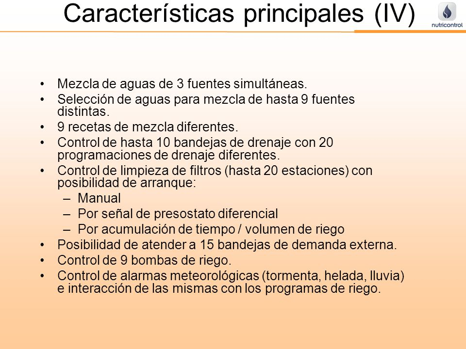 Características principales (IV)