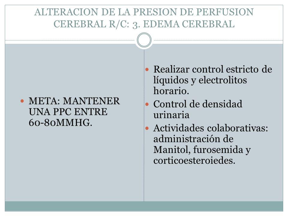 ALTERACION DE LA PRESION DE PERFUSION CEREBRAL R/C: 3. EDEMA CEREBRAL