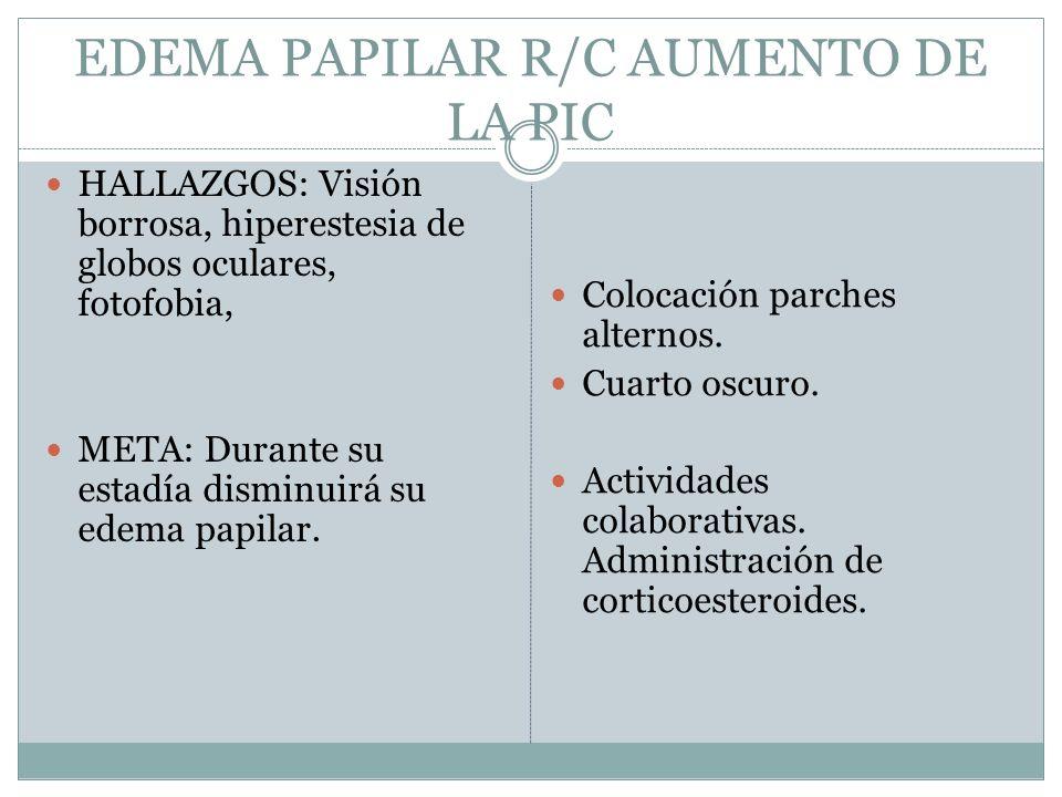EDEMA PAPILAR R/C AUMENTO DE LA PIC