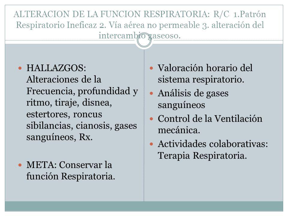 META: Conservar la función Respiratoria.