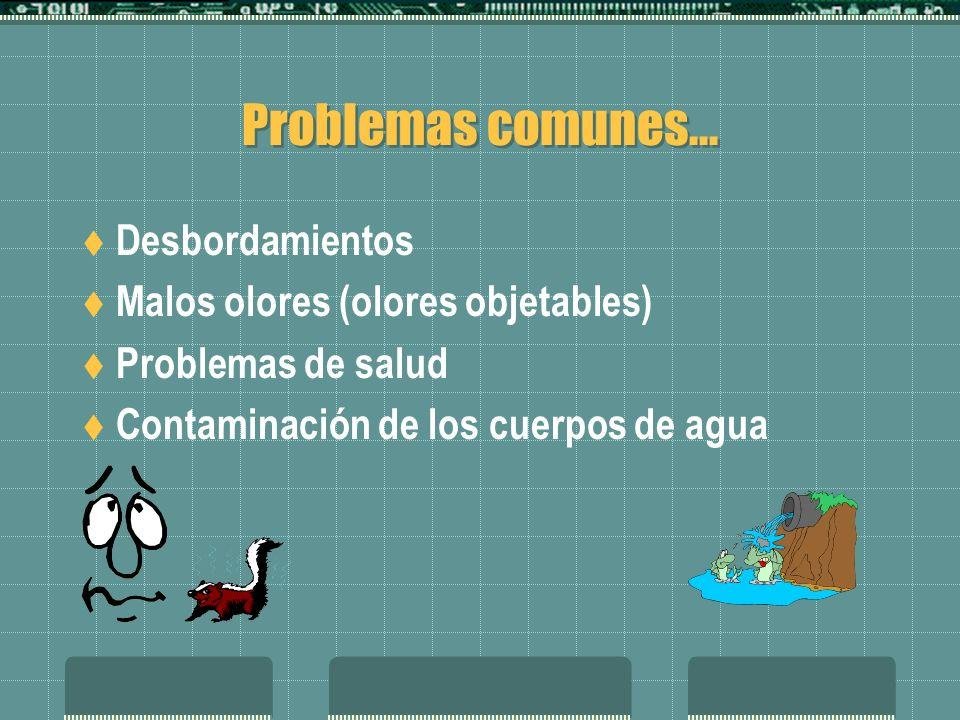 Problemas comunes... Desbordamientos Malos olores (olores objetables)