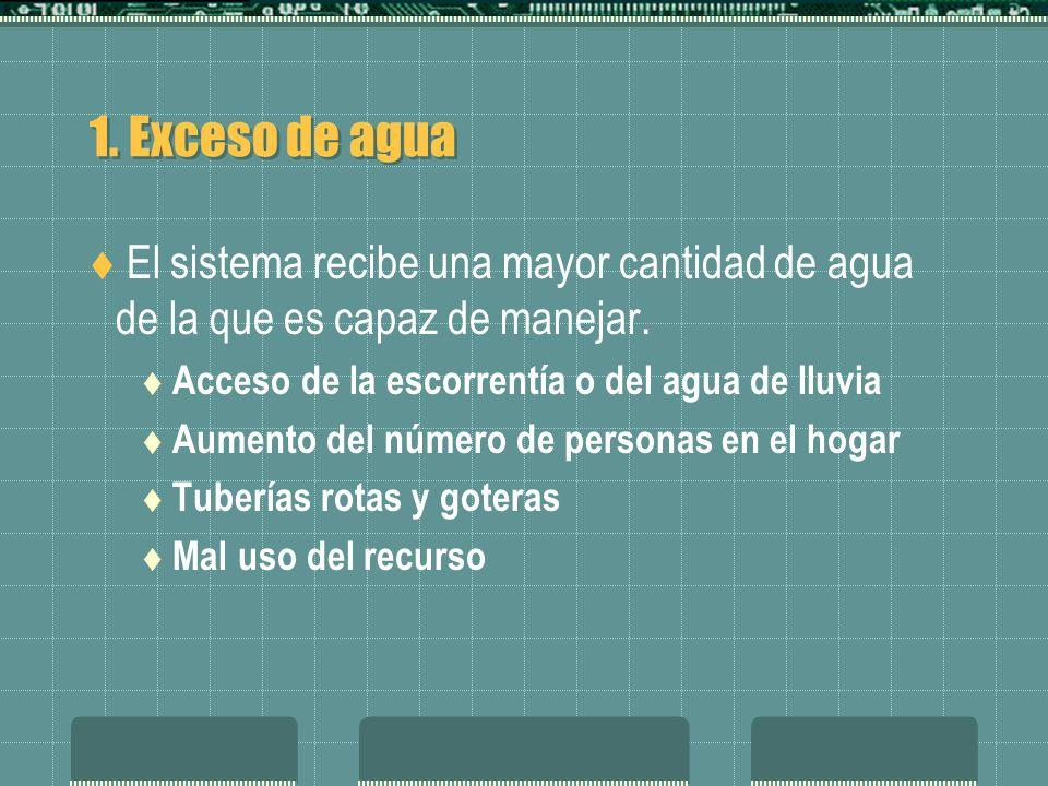 1. Exceso de agua El sistema recibe una mayor cantidad de agua de la que es capaz de manejar. Acceso de la escorrentía o del agua de lluvia.