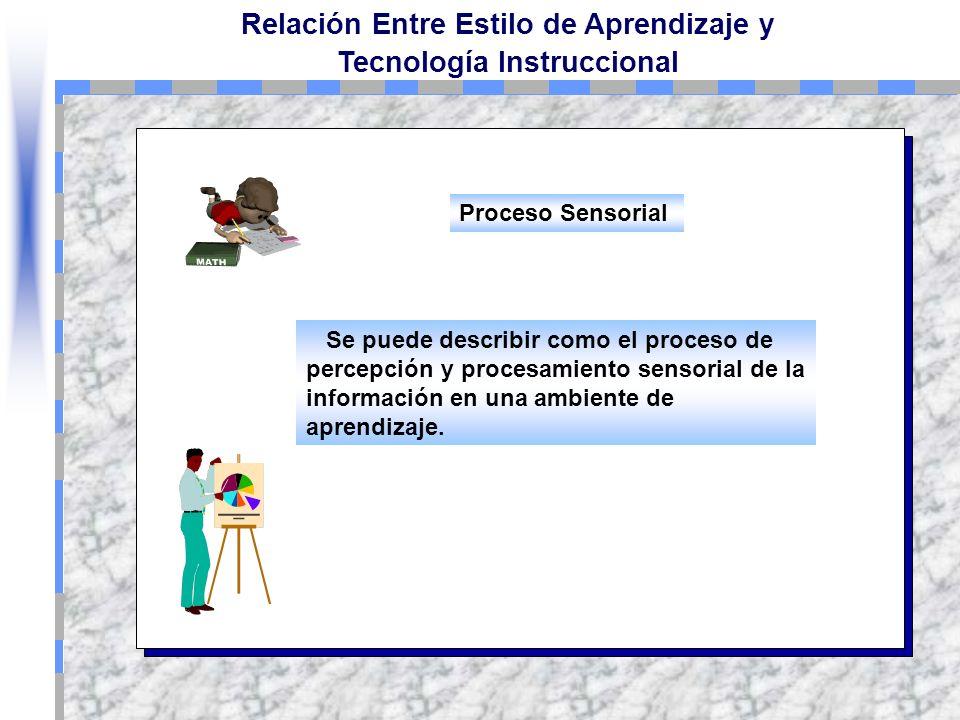 Proceso Sensorial Se puede describir como el proceso de percepción y procesamiento sensorial de la información en una ambiente de aprendizaje.