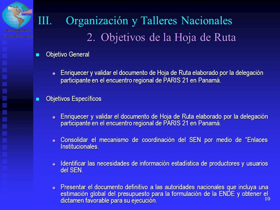 III. Organización y Talleres Nacionales