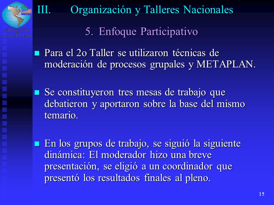 Organización y Talleres Nacionales