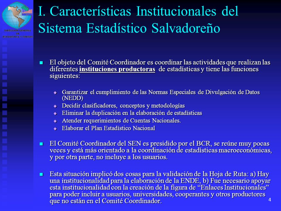 I. Características Institucionales del Sistema Estadístico Salvadoreño