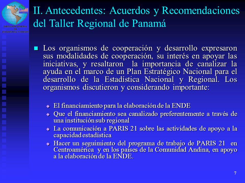 II. Antecedentes: Acuerdos y Recomendaciones del Taller Regional de Panamá