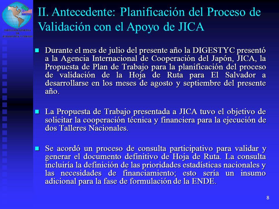 II. Antecedente: Planificación del Proceso de Validación con el Apoyo de JICA