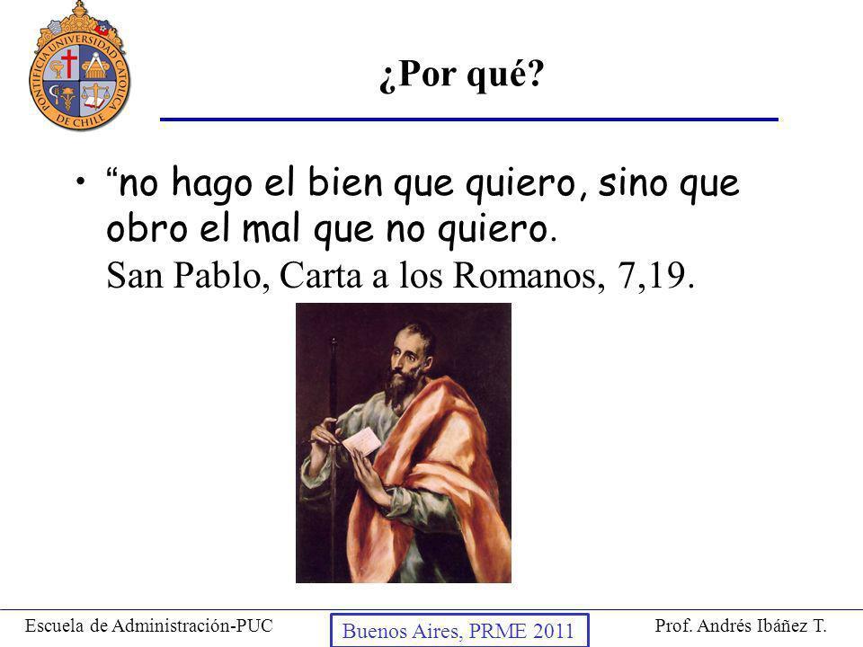 ¿Por qué no hago el bien que quiero, sino que obro el mal que no quiero. San Pablo, Carta a los Romanos, 7,19.
